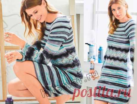 Модное вязаное платье для девушки - Хитсовет Модное вязаное платье для девушки, связанное на спицах со схемой и пошаговым бесплатным описанием.