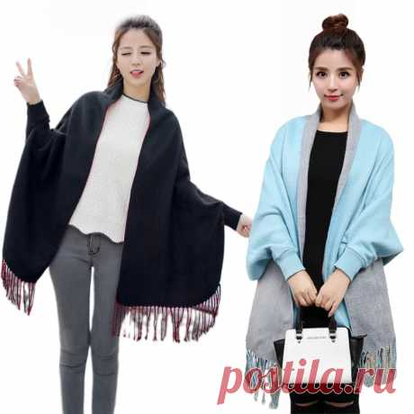 Женская накидка с бахромой, однотонная накидка пончо с бахромой, шарф шаль для улицы