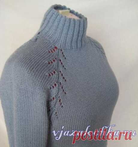 Реглан «Елочка» вязание от горловины спицами