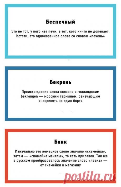 Познавательные открытки о происхождении слов