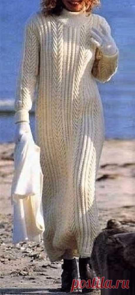 Длинное белое платье, связанное спицами, с описанием | Идеи рукоделия | Яндекс Дзен