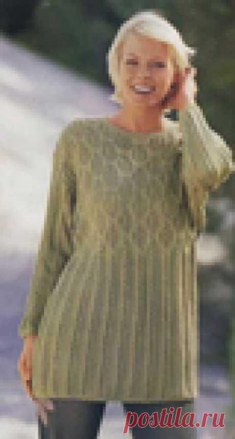 Мода plus. Ажурный пуловер с эффектным узором