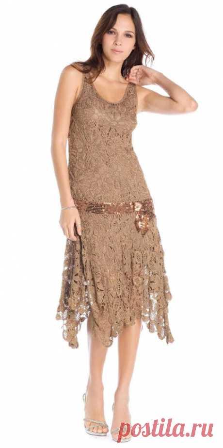 Красивое платье из ирландских мотивов. Платья ирландским кружевом схемы |