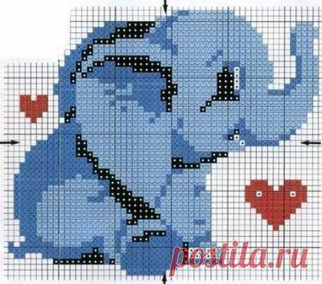 Блог Лилии Первушиной: Схема со слоником для вязания пледа (С2С).