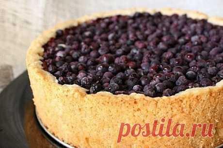 """Творожный пирог с ягодами  Пишу в общем, """"с ягодами"""", так как для этого пирога подходит куча разных ягод - черная и красная смородина, клюква, черника, вишня, голубика (с ней я, кстати, и готовила). Не советую использовать клубнику и малину - 35 минут в духовке они попросту не выдержат и превратятся в неприглядное пюре.  Ингредиенты:  Для теста:  • 200 г муки • 150 г сливочного масла • 100 г сахара • 1 яйцо • 1 ч.л. разрыхлителя  Для начинки:  • 500 г творога • 2 яйца • 10..."""