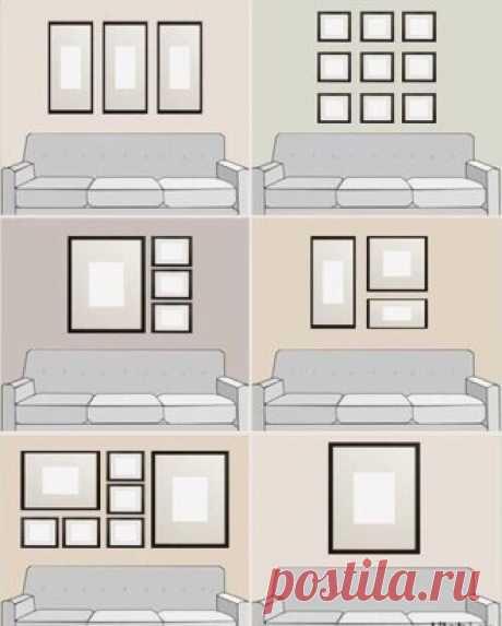 Как правильно вешать картины над диваном.
