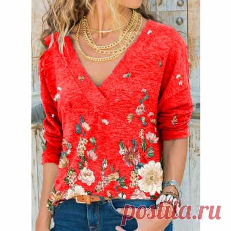 Мода женщин случайные V-образный вырез длинный рукав футболку Chemise Femme Хлопок Печатание блузки плюс размер Топы – купить по низким ценам в интернет-магазине Joom