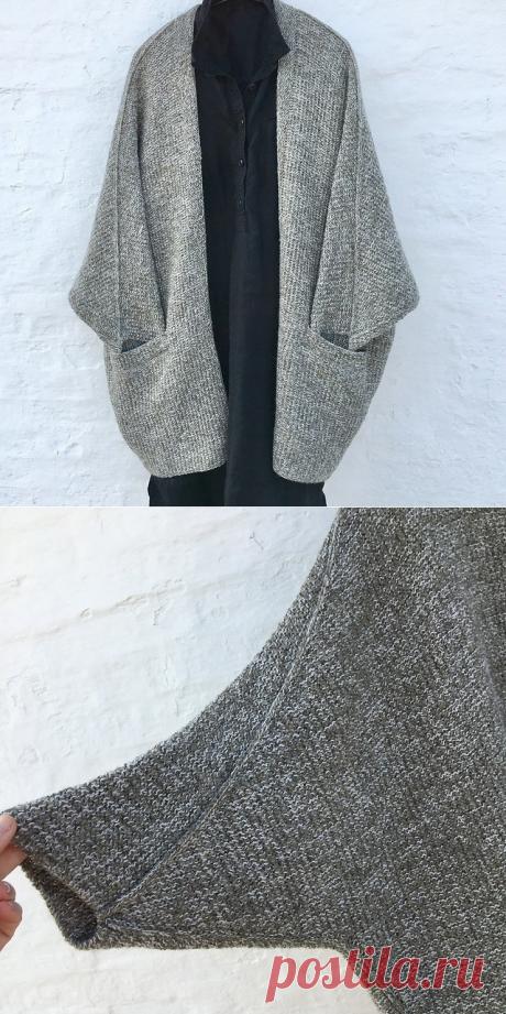 Кардиган Outside by Lone Kjeldsen оверсайз с укорочённым рукавом и карманами (Вязание спицами) — Журнал Вдохновение Рукодельницы