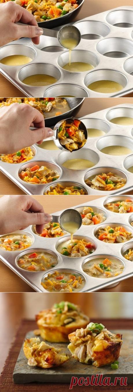 Как приготовить чудные маффины с овощами и курицей - рецепт, ингридиенты и фотографии
