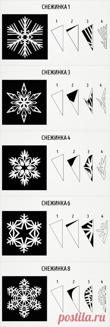 9 схем восхитительных снежинок из бумаги