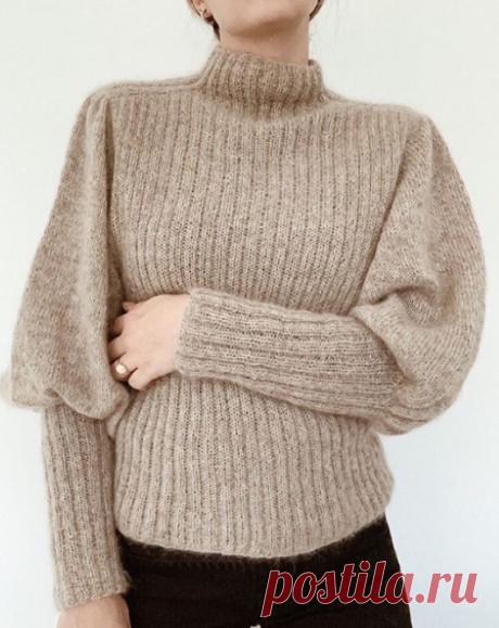 Вязаный свитер с пышными рукавами | ДОМОСЕДКА