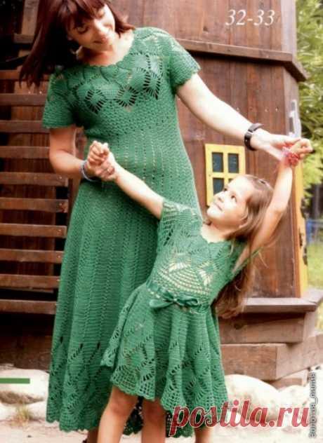 Платья для мамы и дочки крючком из категории Интересные идеи – Вязаные идеи, идеи для вязания