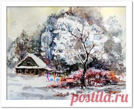 Рисуем зимний домик