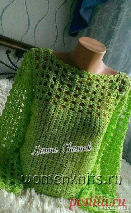 Замечательный ажурный пуловер крючком