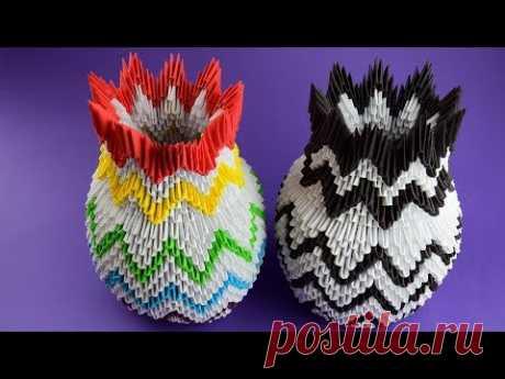 Как сделать красивую вазу из бумаги (оригами из модулей). Пошаговая сборка, мастер класс