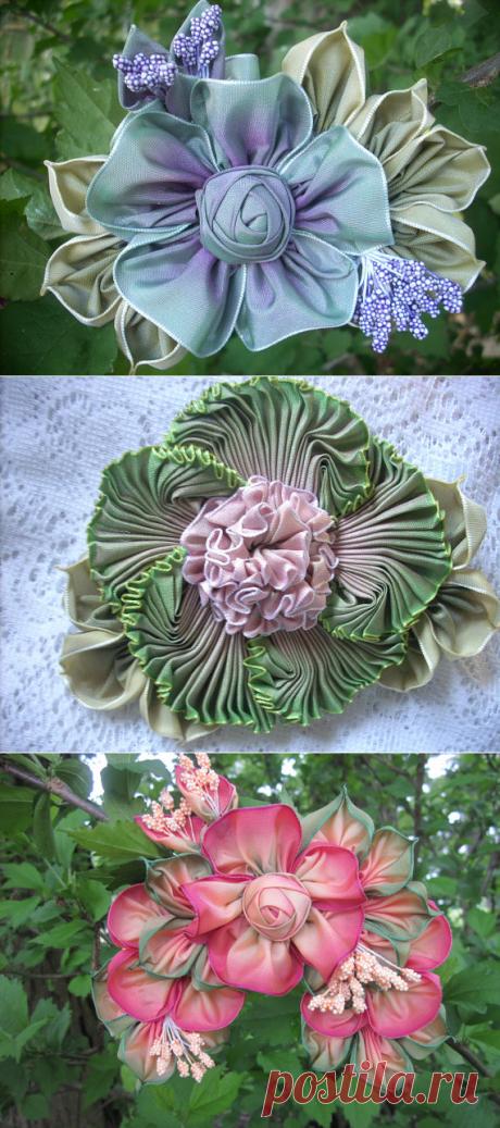 >Цветы из лент