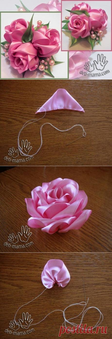 Очень красивая роза из атласных лент — Сделай сам, идеи для творчества - DIY Ideas