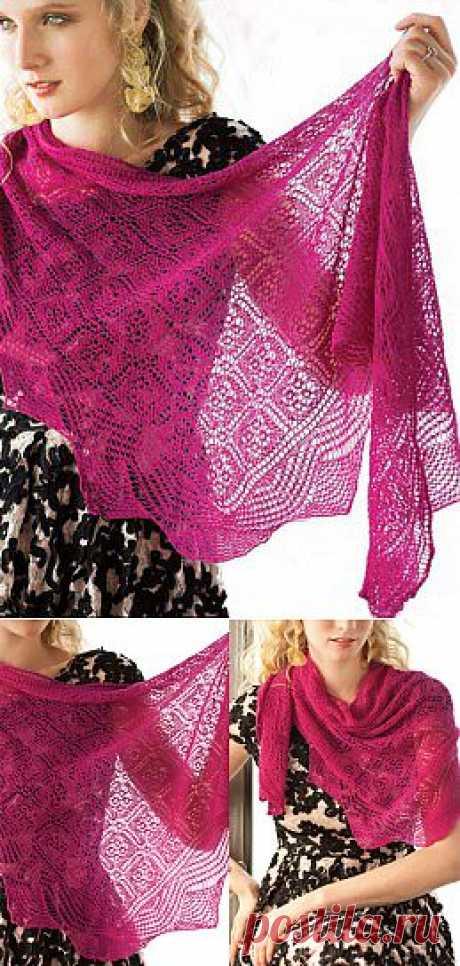 Вязание крючком и спицами - Кружевная шаль цвета фуксии