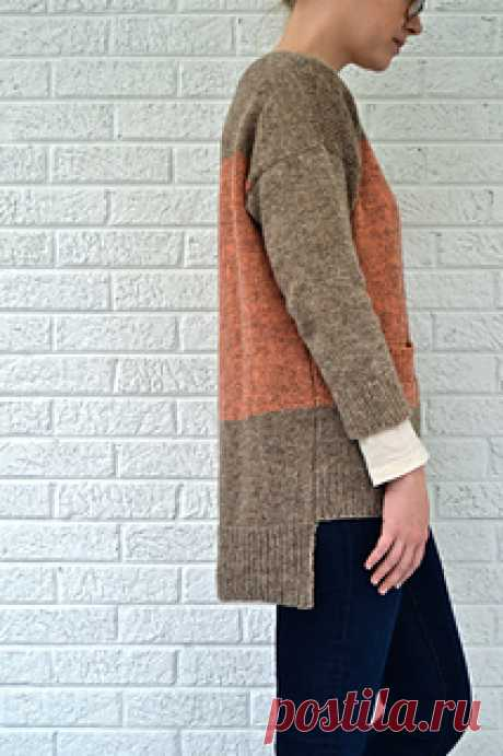 Chelsea Morning pattern by Elizabeth Davis  A block of color and a pocket set the playful mood of this simple and modern pullover. Oversized fit, bracelet sleeves, and a longer hem in the back make it fresh and easy to wear.