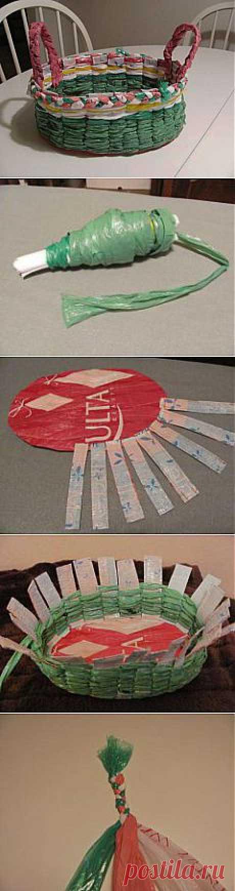 Пасхальная корзинка из пакетов и бумаги как сделать своими руками