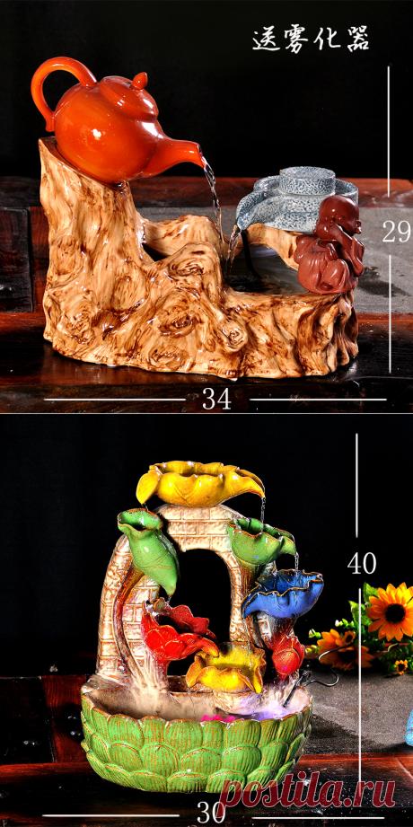 Ремесла декор ручной свадьба резки умирает дома Керамические фонтан воды украшения офиса фэн шуй лаки колесо увлажнитель бонсай cre купить на AliExpress