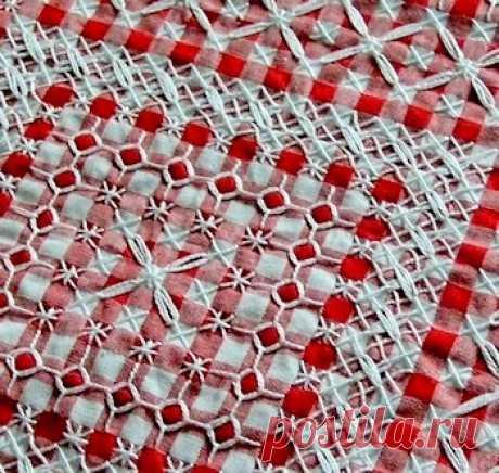 Вышивка на клетчатой ткани или Chicken scratch embroidery Основные приемы виышивания