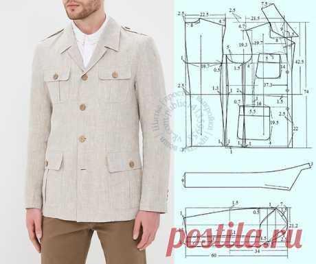 Мужской льняной пиджак Berkytt с накладными карманами, выкройка на размер 52/54 (рос.), рост 170. #простыевыкройки #простыевещи #шитье #мужскойпиджак #выкройка #экоткань #лен #льняныевещи