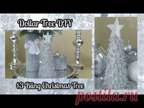 DOLLAR TREE DIY | BLINGY CHRISTMAS TREE $3 EASY HOME DECOR