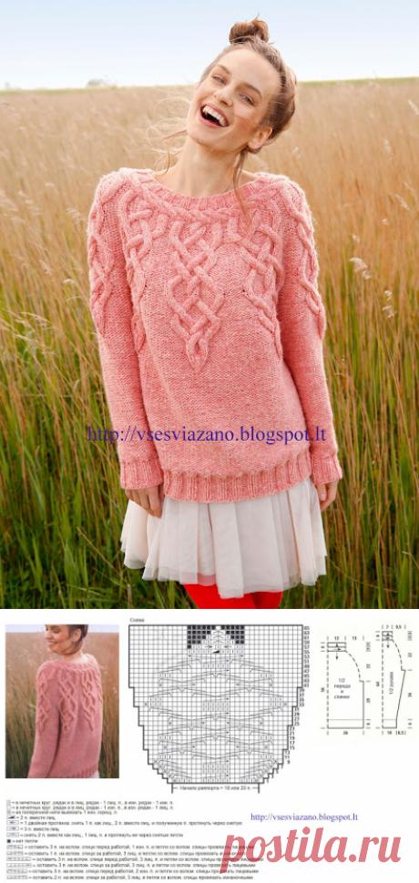 ВСЕ СВЯЗАНО. ROSOMAHA.: Пуловер с круглой кокеткой с аранами из Rebecca №63