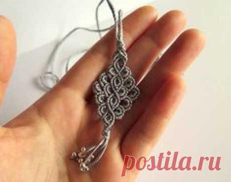 Macramé diamond-shaped lace silver gray necklace earrings set