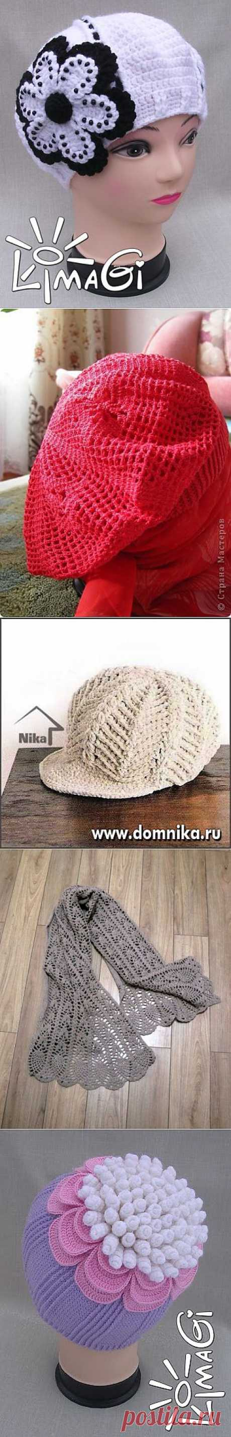 Шали, шарфы, шапочки крючком. Подборка 26.
