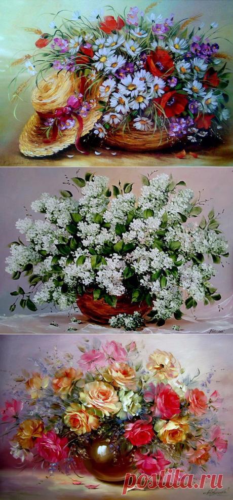 Цветы художницы Н. Левицкой