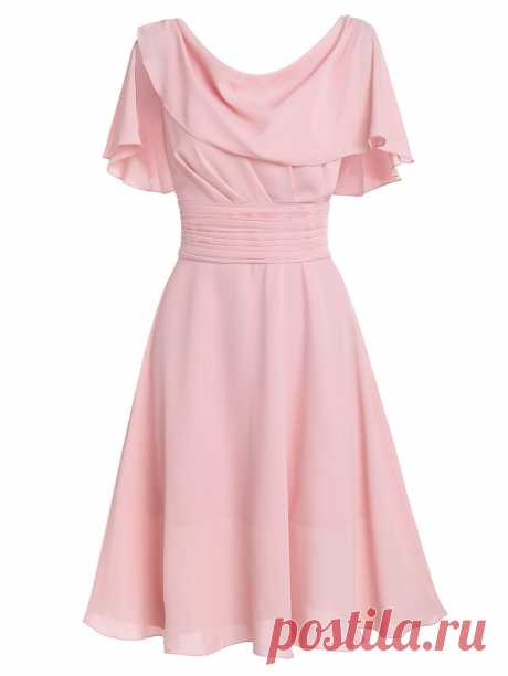 [34% OFF] 2020 Draped Pleated A Line Flounce Dress In LIGHT PINK | DressLily