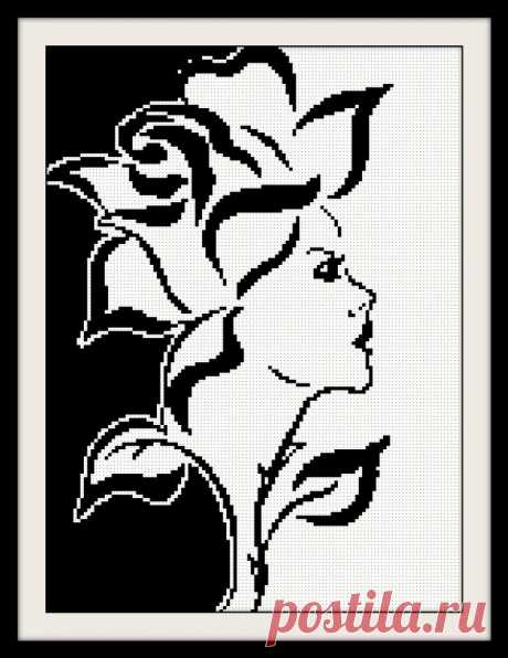 Lady-Rose Cross Stitch Pattern for Beginners PDF Embroidery | Etsy