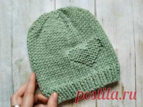 Простая шапочка с сердечком спицами » «Хомяк55» - всё о вязании спицами и крючком