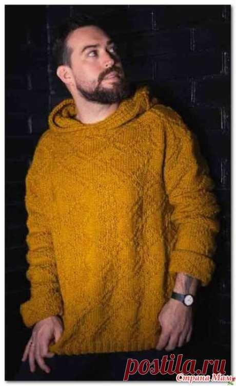 Идея для мужского пуловера с капюшоном спицами