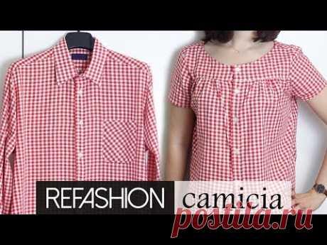 Refashion: da camicia da uomo a camicia da donna | Un punto alla volta