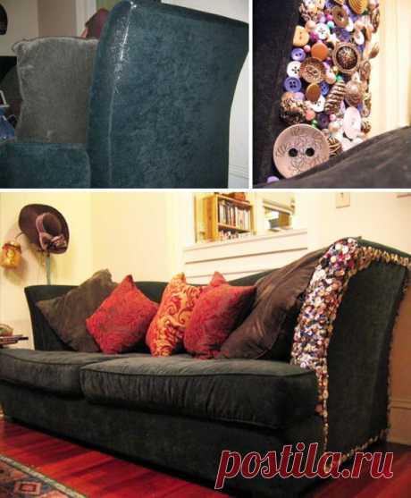 Ремонт дивана пуговицами Модная одежда и дизайн интерьера своими руками