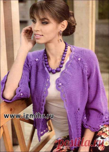 Женственный фиолетовый жакет-реглан, украшенный бусинами. Спицы.