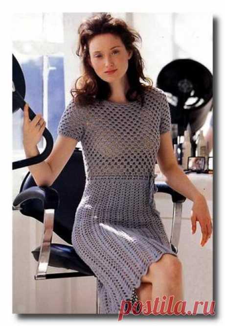 Вязаное серое платье. - Схемы вязания платья - Схемы для вязания - Уроки вязания крючком - Вязание крючком, схемы для вязания крючком