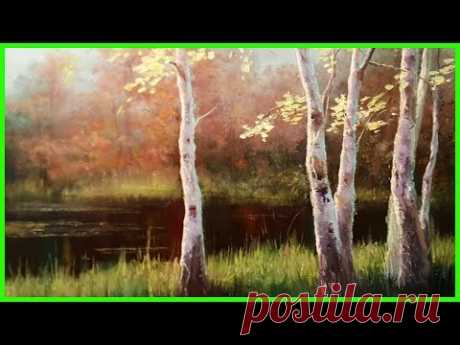 Пейзаж маслом Берёзы на берегу Художник Александр Южаков