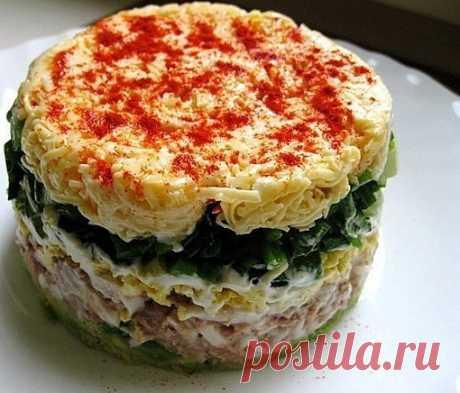 """Слоёный салат """"Новогодний"""" Слоёный салат «Новогодний» с грибами, ветчиной и картофелем Отличный вариант для новогоднего стола, питательный, вкусный и несомненно красивый, если украсить по новогоднему! Готовится совсем просто и быстро. Для..."""