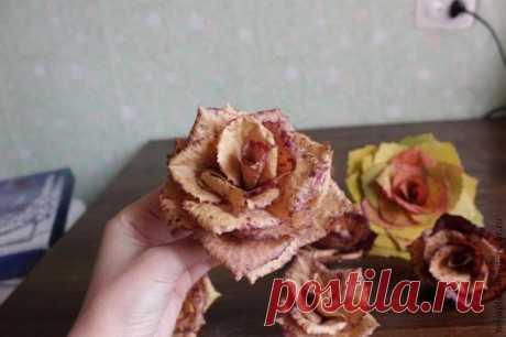 Роза из листьев — Поделки с детьми