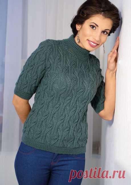 Пуловер с короткими рукавами и воротником стойкой (Вязание спицами) — Журнал Вдохновение Рукодельницы
