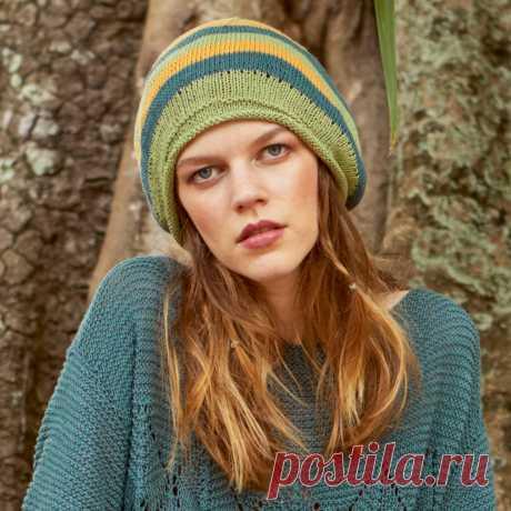 Летняя шапка в полоску - схема вязания спицами с описанием