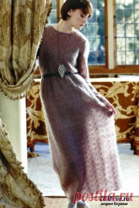 Романтическое платье в пол из мохера. Вязаное спицами