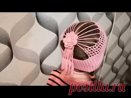 Шапочка крючком для девочки.  Ажурная, необычная шапочка для девочки.