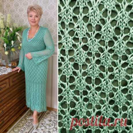 Вязаное платье Павлинье перо