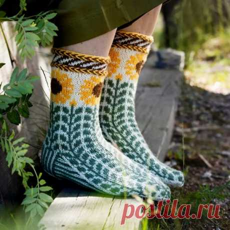 Жаккардовые носки с подсолнухами