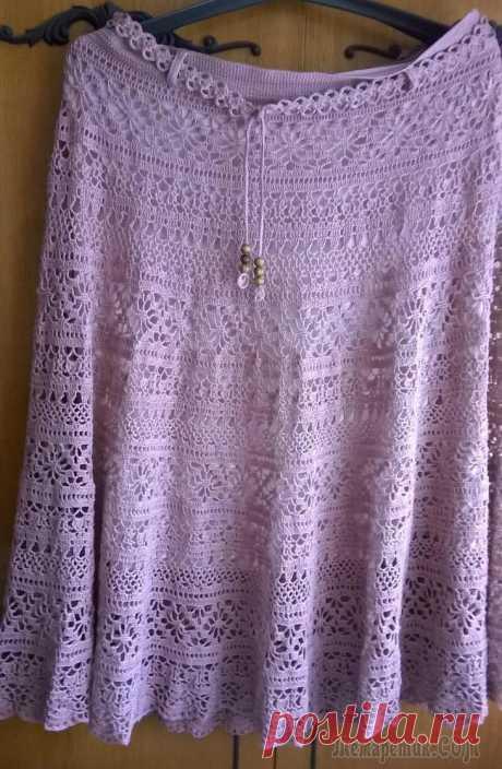 Ажурная льняная юбка крючком